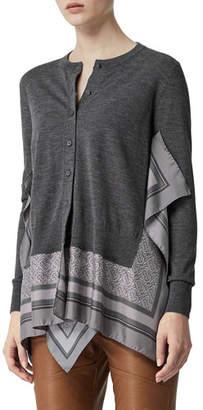 Burberry Button-Front Cardigan w/ Silk Scarf Trim