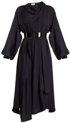 Maison Margiela Asymmetric Draped Crepe Back Satin Dress - Womens - Navy