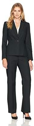 Le Suit Women's Tonal Stripe 1 Button Notch Lapel Pant Suit
