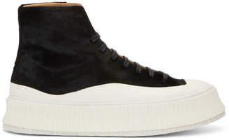Jil Sander Black Pony High-Top Sneakers