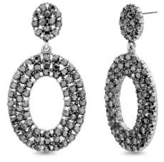 Steve Madden Women's Grey Rhinestone Oval Drop Silver-Tone Earrings