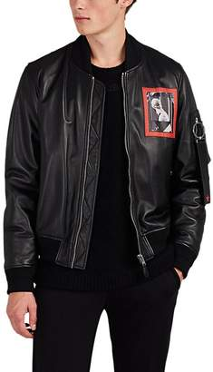 Givenchy MEN'S STATUE-PRINT LEATHER INSULATED BOMBER JACKET
