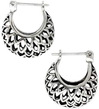 """Novica Artisan Crafted Sterling """"Lotus"""" Hoop Earrings"""