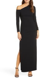 Vince Camuto One-Shoulder Long Sleeve Crepe Gown
