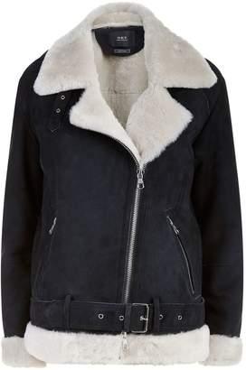 SET Shearling Trim Suede Jacket