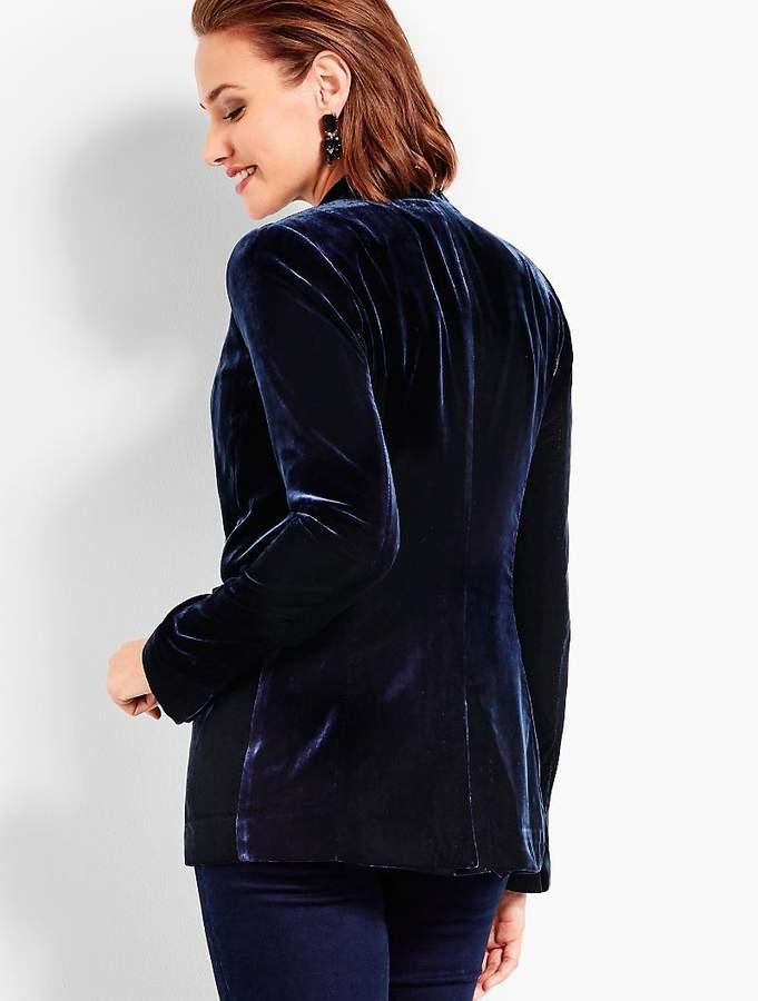 Tie-Front Velvet Smoking Jacket