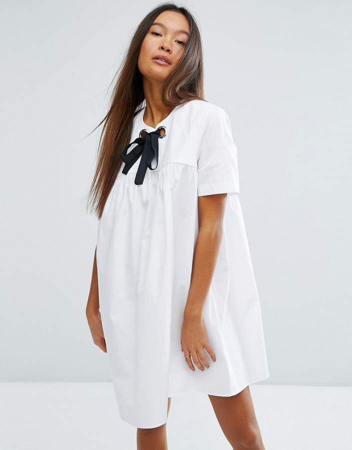 Asos ASOS Smock Dress with Eyelet Detail and Grosgrain Tie