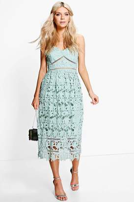 boohoo Boutique Dia Corded Lace Midi Skater Dress $60 thestylecure.com