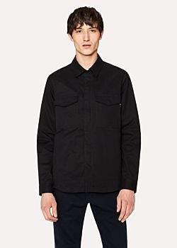 Paul Smith Men's Black Cotton-Twill Shirt Jacket