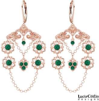 Swarovski European Inspired 24K Pink Gold Plated over .925 Sterling Silver Floral Earrings by Lucia Costin with Cute Flowers and Fancy Ornaments, Adorned with Lovely Charms, Free-Swinging Chains and Crystals
