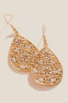 francesca's Harmony Floral Filigree Earrings - Gold