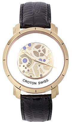 Croton Men's 'Circuit' Quartz Stainless Steel and Leather Watch