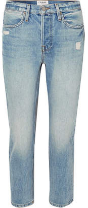 Frame Pegged Distressed High-rise Straight-leg Jeans - Light denim