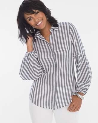 Striped Drama-Sleeve Shirt