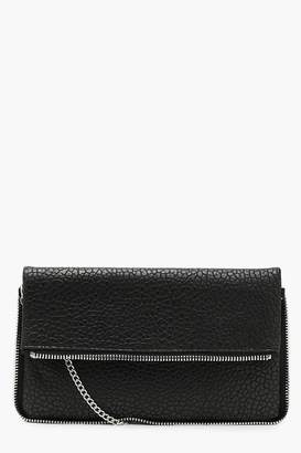 boohoo Zip Trim Clutch With Chain