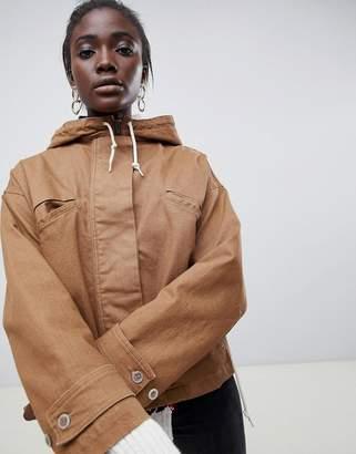Asos denim jacket with hood