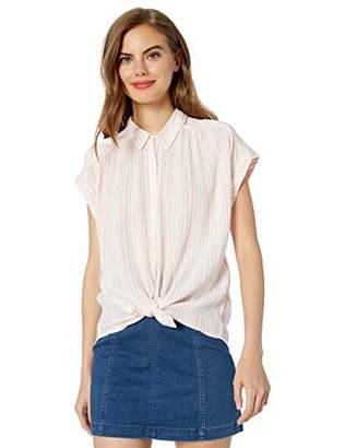 Lucky Brand Women's Short Sleeve Coral Stripe Shirt