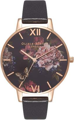 Olivia Burton Dark Bouquet Leather Strap Watch, 38mm