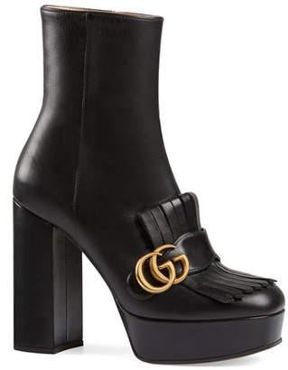 52b8eb450 Gucci Marmont Kiltie Platform Booties