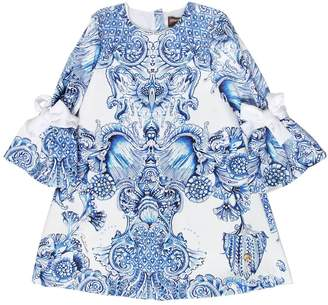 Roberto Cavalli Baroque Print Cotton Satin Dress