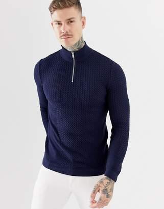 Asos Design DESIGN muscle fit lightweight cable half zip sweater in navy