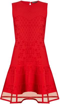 Alexander McQueen Contrast-panel floral-matelassé sleeveless dress