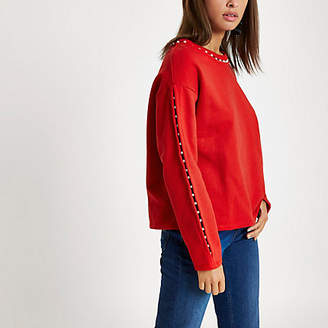River Island Womens Red faux pearl neck sweatshirt