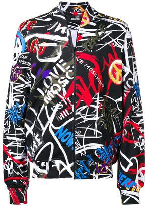 Love Moschino all-over pattern bomber jacket