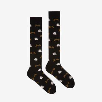 Bally Long Edelweiss Socks Black, Women's fine jersey socks in Red