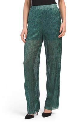Juniors Metallic Wide Leg Pants