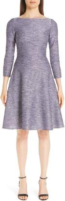 Lela Rose Sequin Tweed Fit & Flare Dress