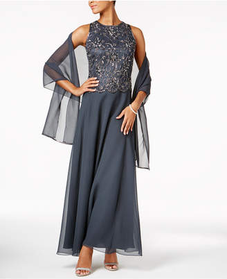 J Kara Beaded Scalloped Gown & Scarf $269 thestylecure.com