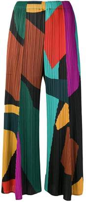 Pleats Please Issey Miyake micro-pleated colour-block trousers