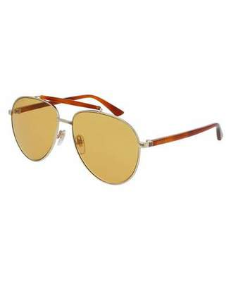 Gucci Metal Aviator Sunglasses, Golden/Amber $400 thestylecure.com