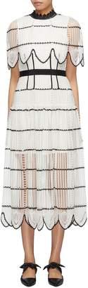 Self-Portrait Scalloped cape overlay stripe crochet lace dress