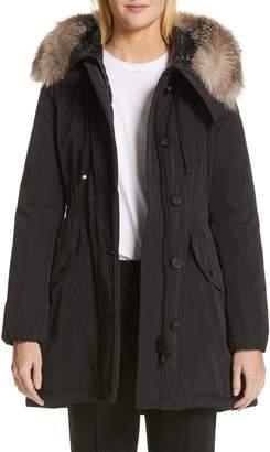 2279e3edf2d4 Moncler Fur-trimmed Coat - ShopStyle