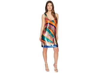Just Cavalli Shimmer Sleeveless Short Swing Dress Women's Dress