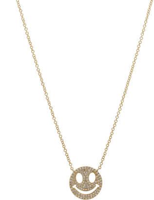 Casa Reale 14k Gold Smiley-Face Pave Diamond Pendant Necklace
