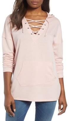Caslon Lace-Up Hooded Sweatshirt (Regular & Petite)