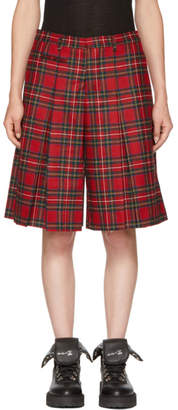 R 13 Red Tartan Pleated Midi Shorts