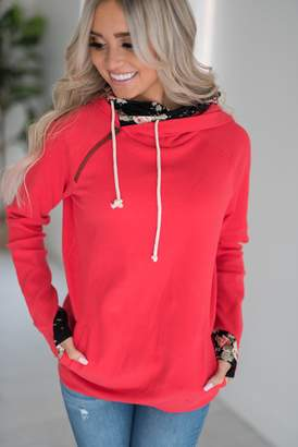 Ampersand Avenue DoubleHood Sweatshirt - Bright Red Floral Accent