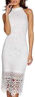 Quiz Mockneck Lace Midi Dress