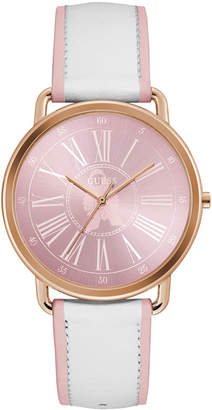 GUESS Women Pink & White Leather Strap Watch 41mm