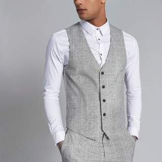 River Island Light grey textured check suit vest