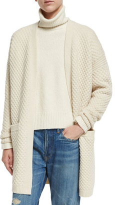 Vince Honeycomb-Knit Long Cardigan, Winter White $485 thestylecure.com