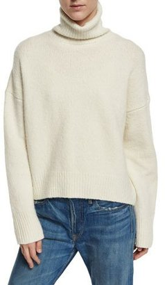 Vince Oversized Knit Turtleneck Sweater, Winter White $375 thestylecure.com