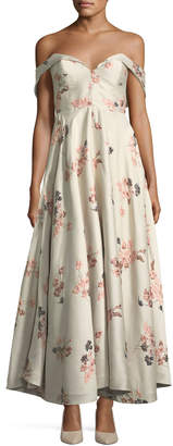 Co Off-the-Shoulder Bustier Floral-Jacquard Tea-Length Cocktail Dress