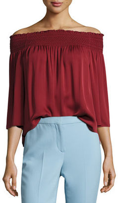 Theory Elistaire Off-the-Shoulder Modern Georgette Top $295 thestylecure.com