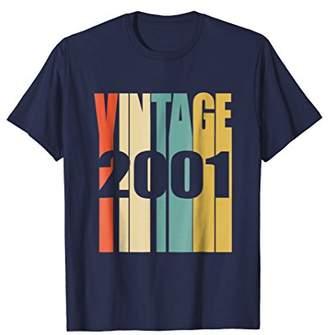 Retro Vintage 2001 T-Shirt 17 yrs old Bday 17th Birthday Tee