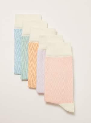 Topman Pastel Herringbone Socks 5 Pack